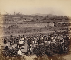 General view of works from upper window, contractor's office, looking N.-E. [Victoria Dock construction, Bombay].